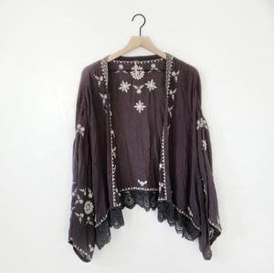Free People Charcoal Embroidered Boho Lace Komono